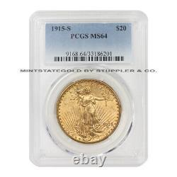 1915-S $20 Gold Saint Gaudens Double Eagle PCGS MS64 choice graded San Francisco