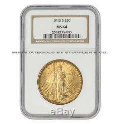 1915-S $20 Gold Saint Gaudens NGC MS64 San Francisco Double Eagle Twenty Dollars