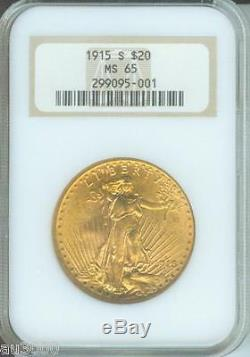 1915-S $20 ST. GAUDENS Double Eagle NGC MS65 SAINT MS-65 OLD FAT HOLDER