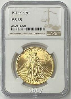 1915-S $20 Saint Gaudens Pre-33 Gold Double Eagle NGC MS65 Blazing Orange Color