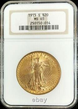 1915 S Gold $20 Dollar Saint Gaudens Double Eagle Coin Ngc Mint State 65