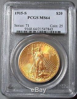 1915 S Gold $20 Saint Gaudens Double Eagle Pcgs Mint State 64