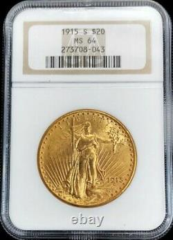 1915 S Gold Us $20 Dollar Saint Gaudens Double Eagle Coin Ngc Mint State 64