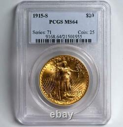1915-S Saint St. Gaudens Gold Coin $20 Double Eagle PCGS MS64 FREE 2-DAY SHIP