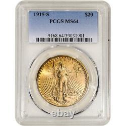 1915-S US Gold $20 Saint-Gaudens Double Eagle PCGS MS64