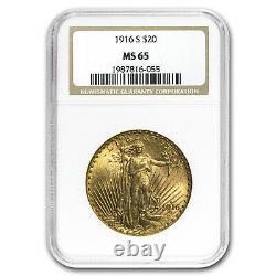 1916-S $20 Saint-Gaudens Gold Double Eagle MS-65 NGC SKU#92856