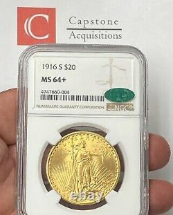 1916-S $20 Saint Gaudens Gold Double Eagle Pre-33 NGC MS64+ CAC SUPER FRESH PQ++
