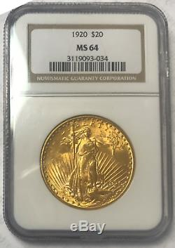 1920 $20 EXTREMELY RARE NGC MS-64 Saint-Gaudens Gold Double Eagle FAB BEAUTY