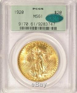 1920 $20 Saint Gaudens Gold Double Eagle Coin PCGS MS61 CAC Old Green Holder OGH