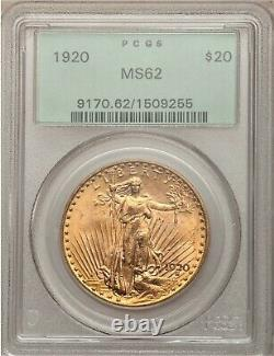 1920 Gold $20 Saint-gaudens Double Eagle Ms-62 Pcgs Ogh Great Eye Appeal