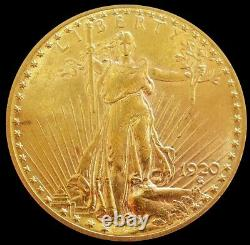 1920 Gold USA $20 Saint Gaudens Double Eagle Coin Mint State
