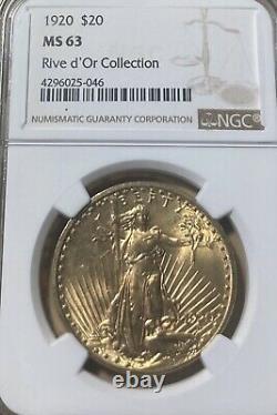 1920 NGC MS63 $20 Saint Gaudens Gold Double Eagle