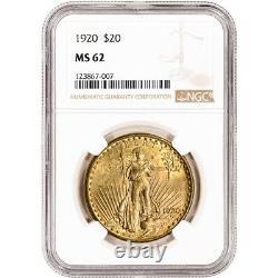 1920 US Gold $20 Saint-Gaudens Double Eagle NGC MS62