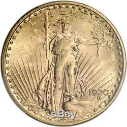 1920 US Gold $20 Saint-Gaudens Double Eagle PCGS MS63