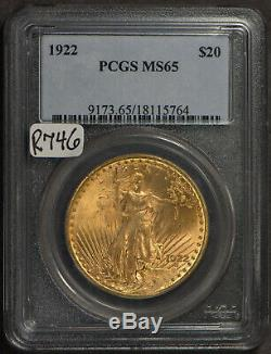 1922 $20 Gold ST GAUDENS DOUBLE EAGLE PCGS MS 65 SCARCE in 65! #R746