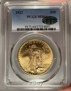 1922 $20 PCGS MS 64 CAC St. Gaudens Gold Double Eagle