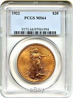 1922 $20 PCGS MS64 Saint Gaudens Double Eagle Gold Coin