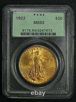 1922 $20 Twenty Dollar St Gaudens Gold Double Eagle OGH PCGS MS 63