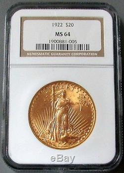 1922 Gold $20 Saint Gaudens Double Eagle Coin Ngc Mint State 64