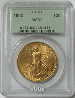 1922 Gold $20 St Gaudens Green Label Pcgs Mint State 63