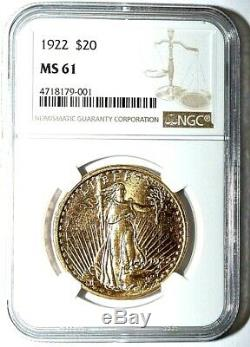 1922-P United States $20 St. Gaudens Double Eagle Gold Coin NGC/NCS MS61