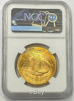 1922-S $20 Saint Gaudens Gold Double Eagle NGC MS62 Bright Crisp Detail, Beauty