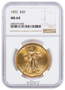 1922 Saint-Gaudens $20 Gold Double Eagle NGC MS64 SKU48862