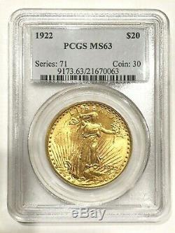 1922 Saint-Gaudens Double Eagle $20 Gold Coin PCGS MS 63 Rare Amazing Luster