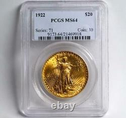 1922 Saint St. Gaudens Gold Coin $20 Double Eagle PCGS MS64 FREE 2-DAY SHIPPING