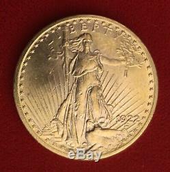 1922 U. S $20 GOLD ST. GAUDENS DOUBLE EAGLE TWENTY DOLLAR COIN Free Shipping