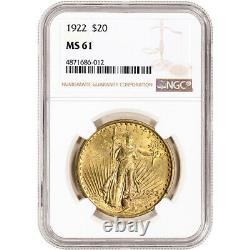 1922 US Gold $20 Saint-Gaudens Double Eagle NGC MS61
