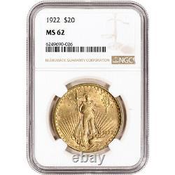 1922 US Gold $20 Saint-Gaudens Double Eagle NGC MS62