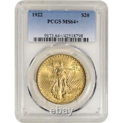 1922 US Gold $20 Saint-Gaudens Double Eagle PCGS MS64+
