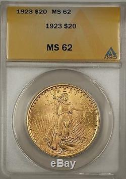 1923 $20 Dollar St. Gaudens Double Eagle Gold Coin ANACS MS-62 BP