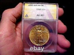 1923 $20 Gold Double Eagle Coin St. Gaudens ANACS Slabbed & UNDER Graded AU-50