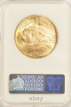 1923 $20 Saint Gaudens Gold Double Eagle Coin NGC MS62 NoLine Fatty Copper Spots