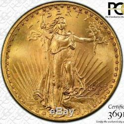 1923-D $20 Gold St. Gaudens Double Eagle PCGS MS65