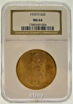 1923-D $20 ST. GAUDENS GOLD DOUBLE EAGLE COIN Graded NGC MS-64 FREE SHIPPING