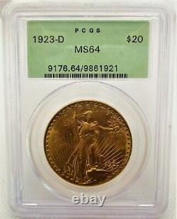 1923-D $20 ST. GAUDENS GOLD DOUBLE EAGLE COIN Graded PCGS MS-64 FREE SHIPPING