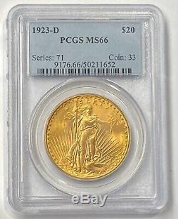 1923-D $20 Saint Gaudens Gold Double Eagle PCGS MS66 Amazing Color & Surfaces PQ