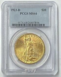 1923-D $20 Saint Gaudens Gold Double Eagle Pre-1933 PCGS MS64 Outstanding Coin