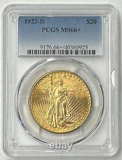 1923-D $20 Saint Gaudens Gold Double Eagle Pre-1933 PCGS MS66+ Amazing Super Gem