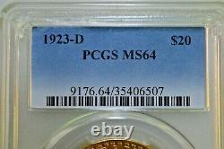 1923-D $20 St Gaudens Double Eagle PCGS MS-64 BEAUTIFUL