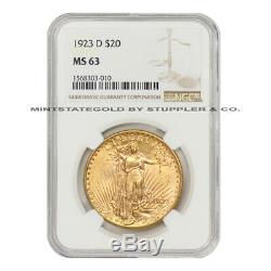 1923-D $20 St Gaudens NGC MS63 choice uncirculated Gold Saint Double Eagle coin
