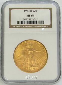 1923 D Gold $20 Dollar Ngc Ms 64 Saint Gaudens Double Eagle Coin