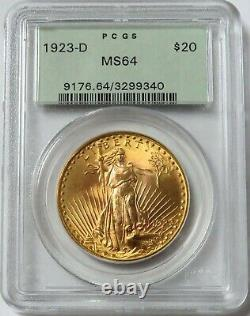 1923 D Gold $20 Saint Gaudens Double Eagle Green Label Coin Pcgs Mint State 64