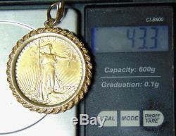 1923 Saint-Gaudens $20 Gold Double Eagle In Fancy 14k Gold Rope Bezel Coin Frame