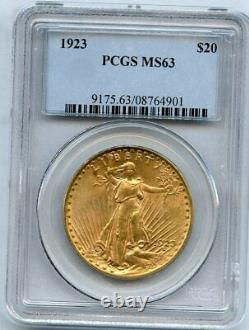 1923 Twenty Dollar $20 Saint Gaudens Double Eagle PCGS 63