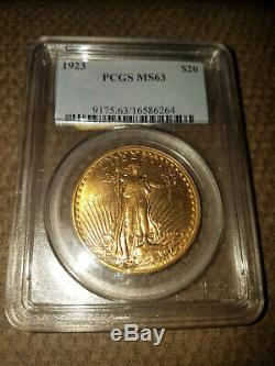 1923 U. S. Twenty Dollar Gold Piece, MS-63, With Motto, St. Gaudens, Double Eagle