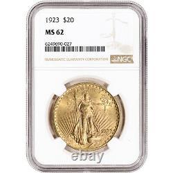1923 US Gold $20 Saint-Gaudens Double Eagle NGC MS62